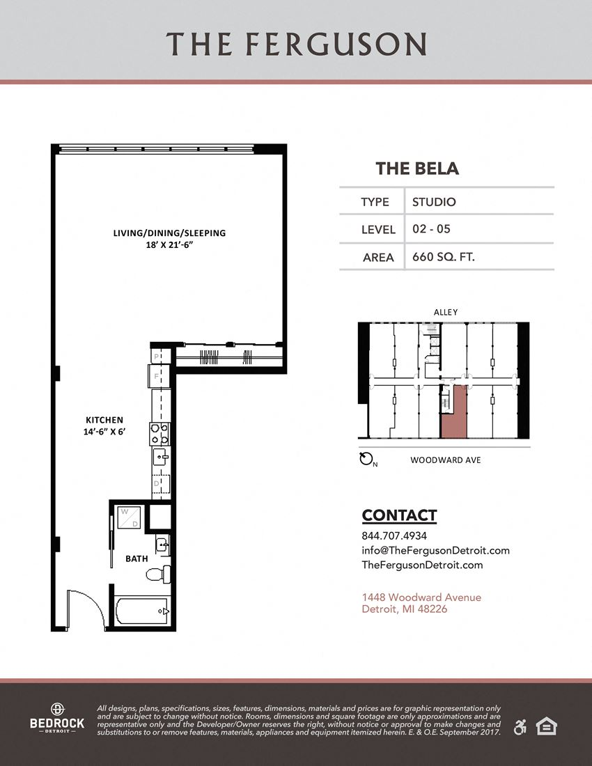 The Bela Floor Plan at The Ferguson, Detroit, 48226