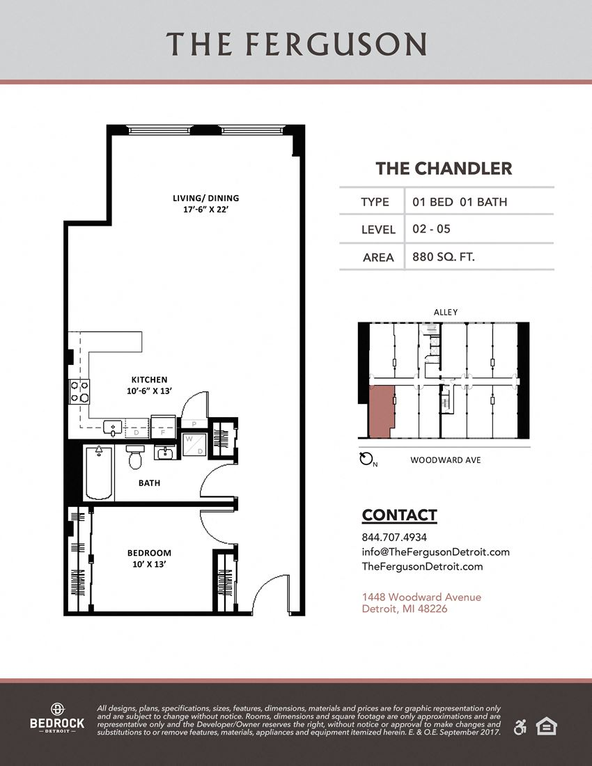 The Chandler Floor Plan at The Ferguson, Detroit