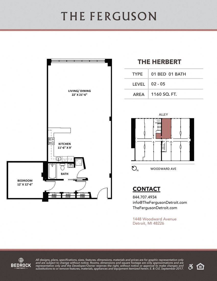 The Herbert Floor Plan at The Ferguson, Detroit, MI, 48226