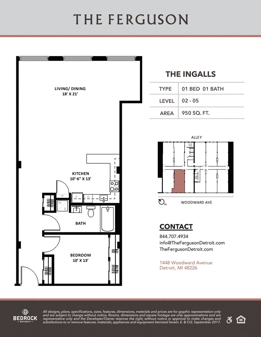 The Ingalls Floor Plan at The Ferguson, Michigan, 48226
