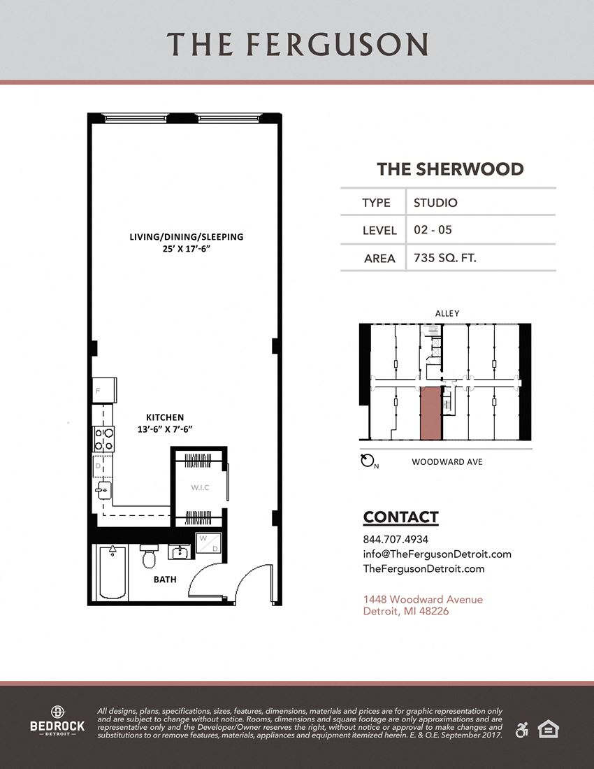 The Sherwood Floor Plan at The Ferguson, Detroit, Michigan