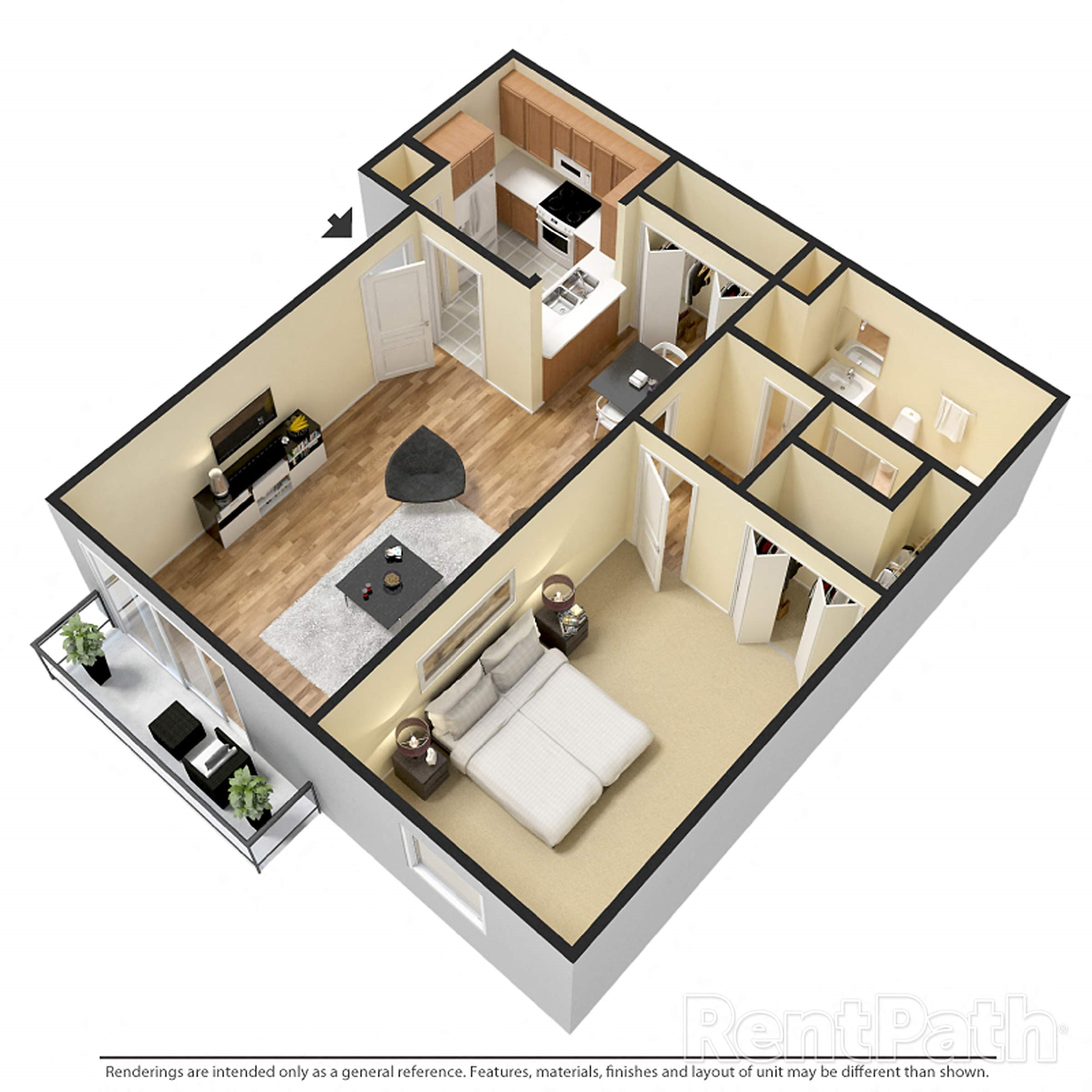 1 Bedroom Expanded Renovated Floor Plan 2