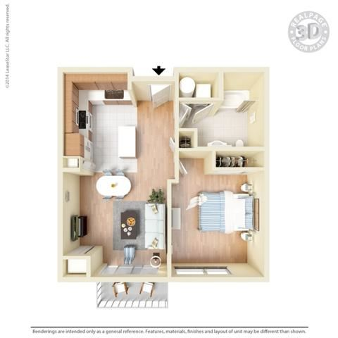 1 Bed - 1 Bath, 684 square feet A1 floor plan