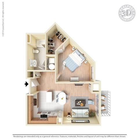 1 Bed - 1 Bath, 789 square feet A3 floor plan
