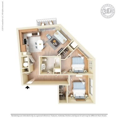 2 Bed - 1 Bath, 897 square feet B1 floor plan