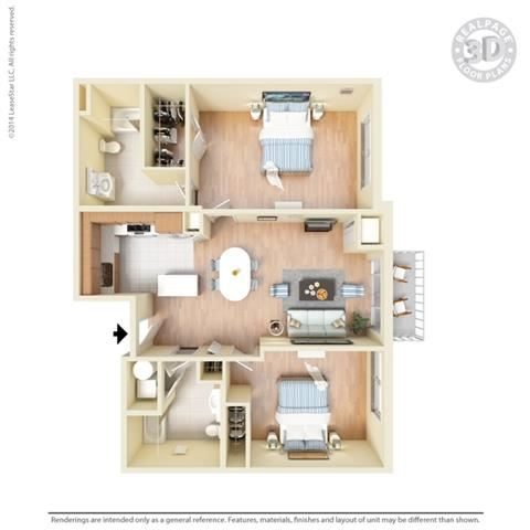 2 Bed - 2 Bath, 1113 square feet B2 floor plan