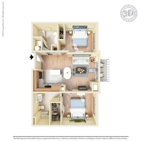 2 Bed - 2 Bath, 1029 square feet B3 floor plan