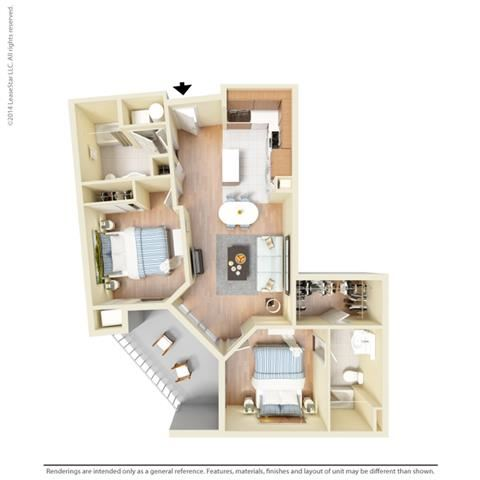 2 Bed - 2 Bath, 1037 square feet B5 floor plan