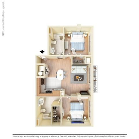 2 Bed - 2 Bath, 1042 square feet B6 floor plan
