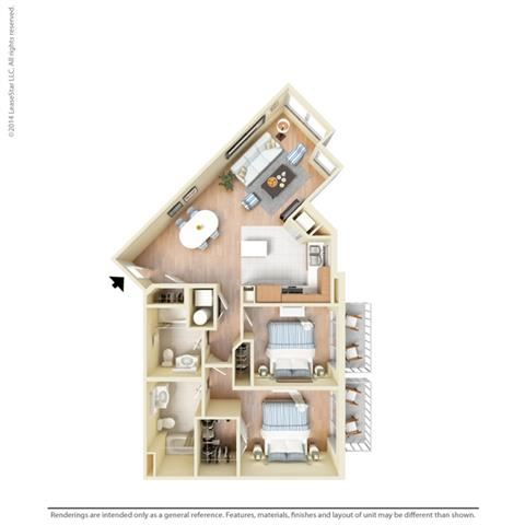 2 Bed - 2 Bath, 1111 square feet B7 floor plan