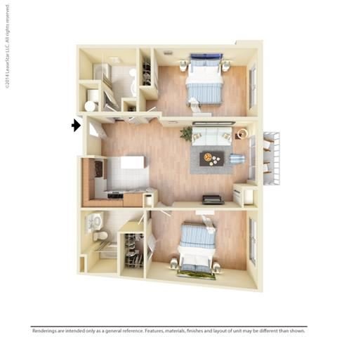 2 Bed - 2 Bath, 1194 square feet B8 floor plan