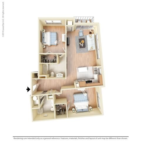 2 Bed - 2 Bath, 1239 square feet B9 floor plan
