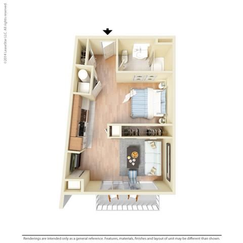 Studio 678 square feet  S1 floor plan
