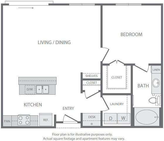 A6 Floorplan at Windsor South Lamar, Austin
