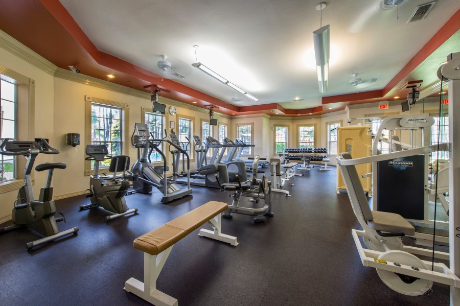 Image of our fully equipped fitness center at our apartments on eldridge