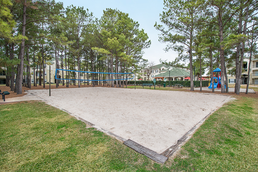 Image of the sand volleyball courts in our community in the energy corridor