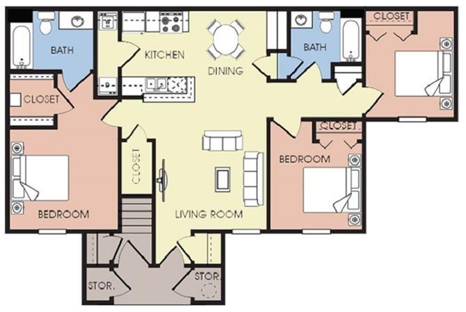 3 bed 2 bath Floor Plan 3