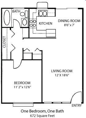 1-1B Floor Plan 1