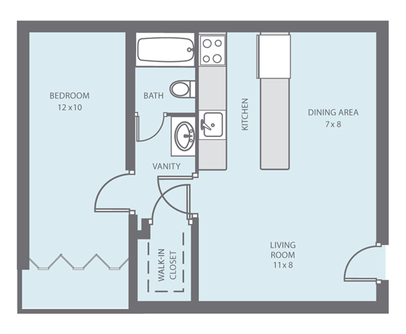 1 bed 1bath Floor Plan 2