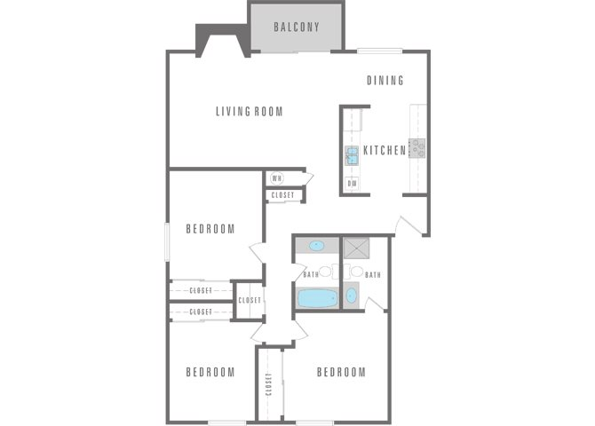 3 Bedroom 2 Bath Floor Plan 4
