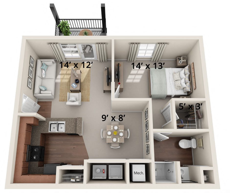 One Bedroom, One Bath (B) Floor Plan 2