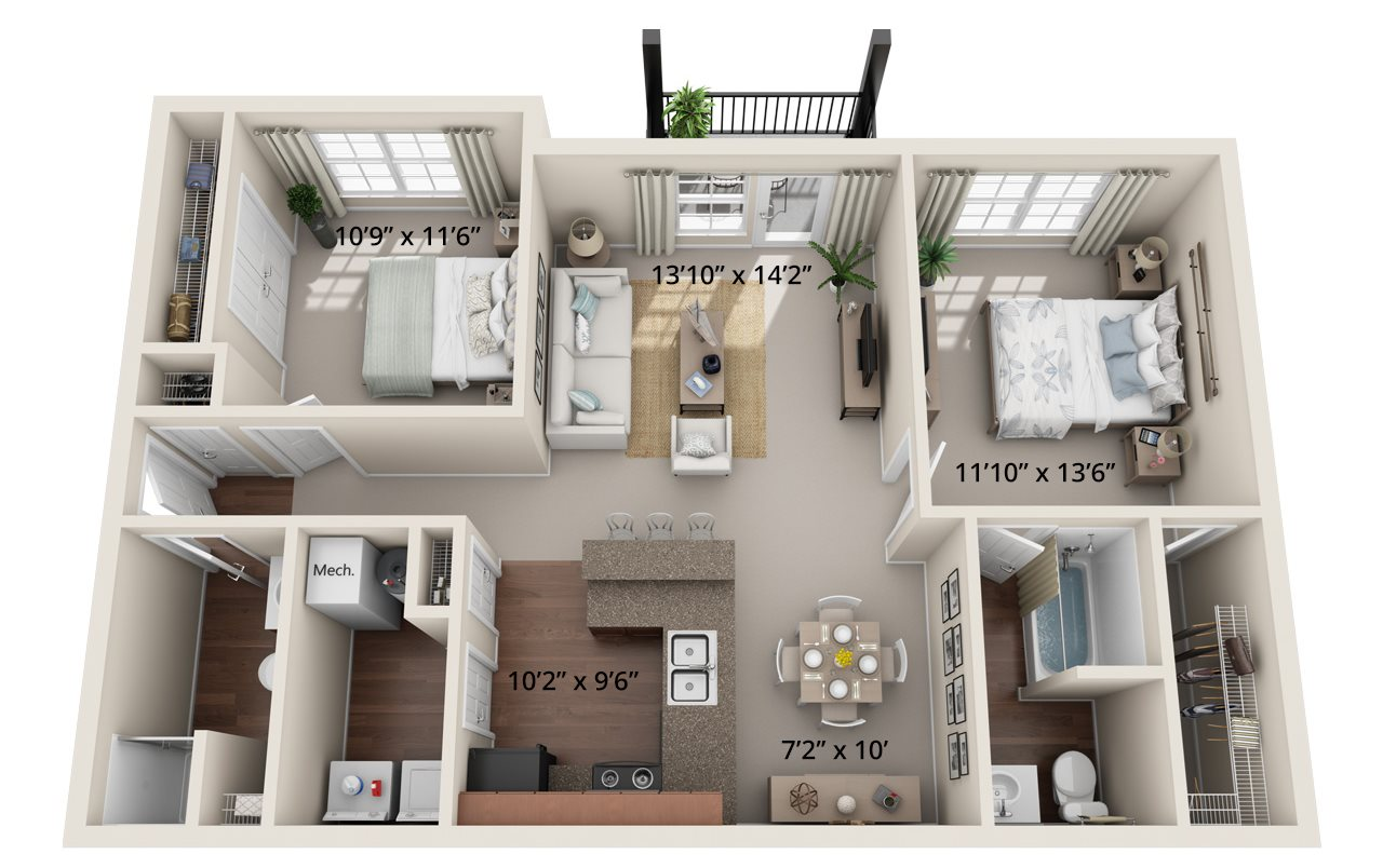 Two Bedroom, Two Bath (B) Floor Plan 7