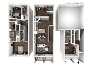 3 Bedroom Townhome Plan 1