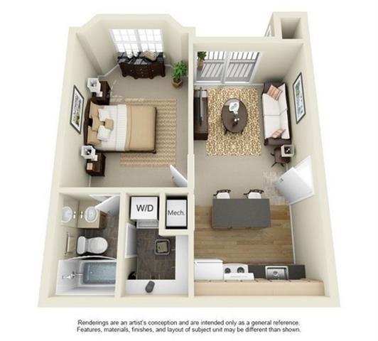 1 Bed 1 Bath Floor Plan at Enclave at Lake Underhill, Orlando, Florida