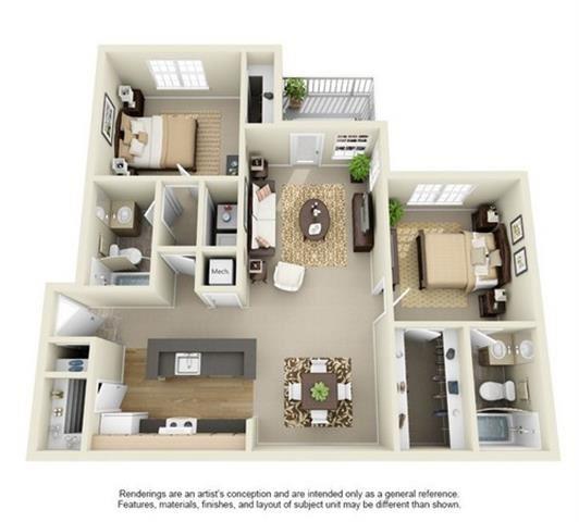 2 Bed 2 Bath Floor Plan at Enclave at Lake Underhill, Orlando