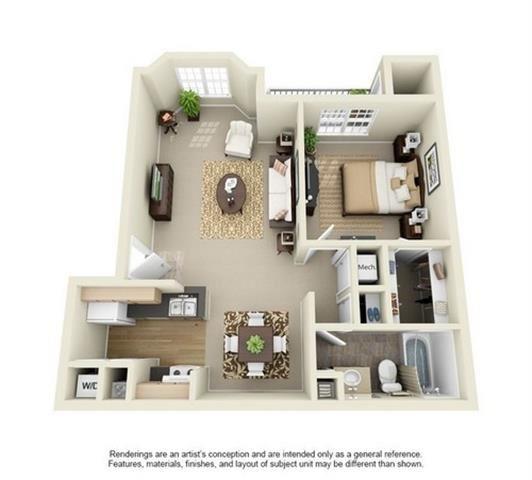 1 Bedroom 1 Bathroom Floor Plan at Enclave at Lake Underhill, Florida, 32803