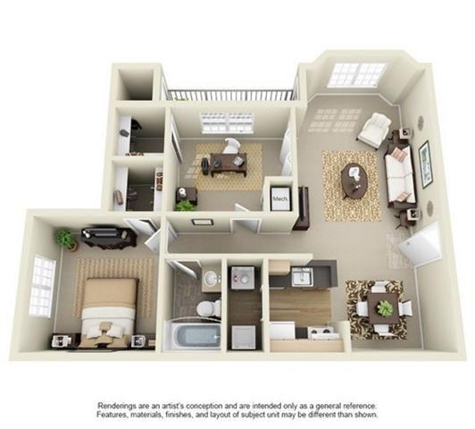 1 Bedroom 1 Bath Floor Plan at Enclave at Lake Underhill, Orlando, FL, 32803