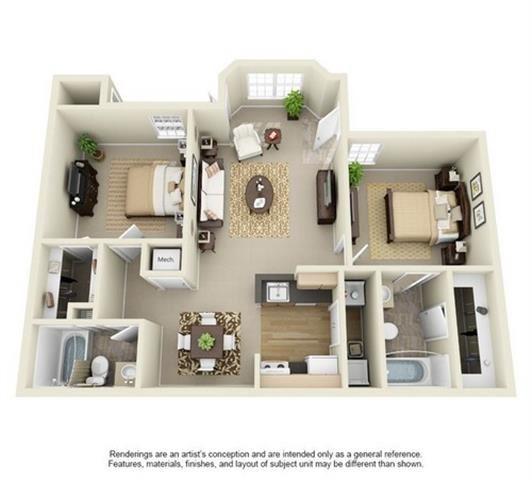 2 Bedroom 2 Bathroom Floor Plan at Enclave at Lake Underhill, Orlando, FL