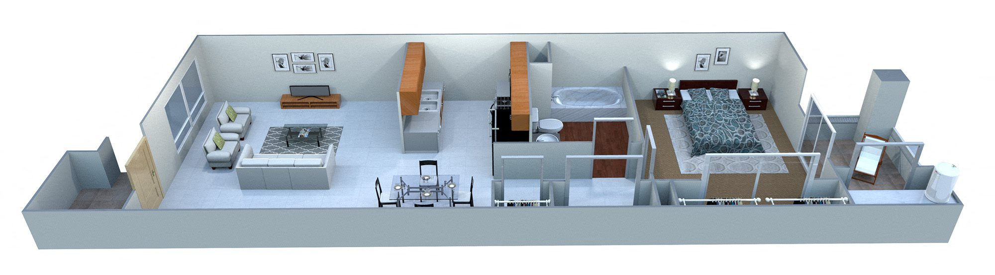 1A One Bedroom Floor Plan 1