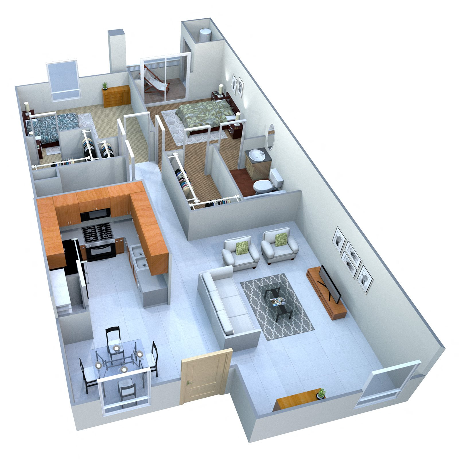 2A Two Bed Two Bath Floor Plan 2