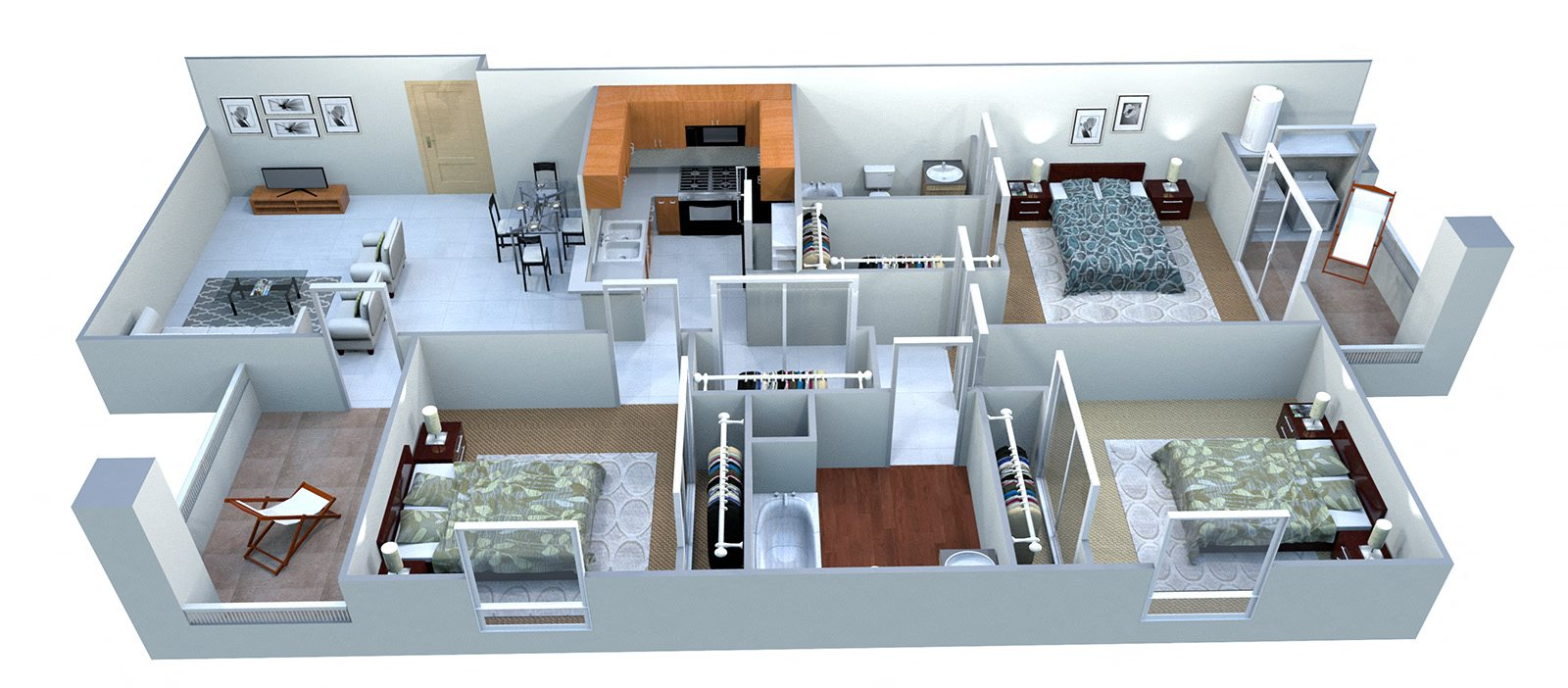 3A Three Bed Two Bath Floor Plan 4