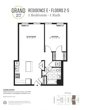 1 Bedroom 1 Bathroom E