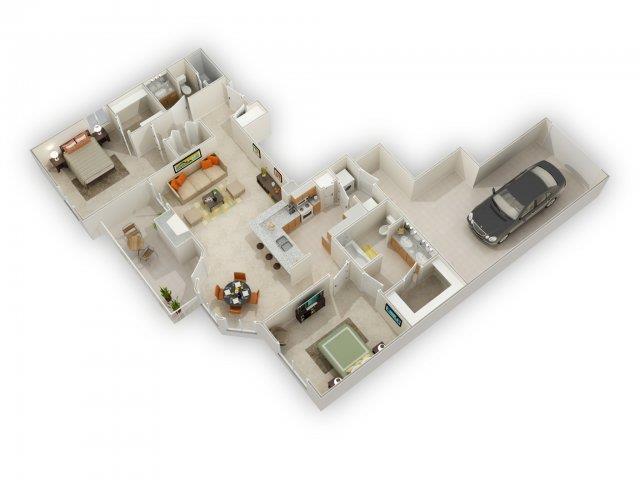 Bradley Floorplan at Main Street Village Apartments