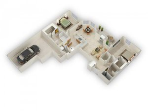 Bradley Two Bed Two Bath Floor Plan at Main Street Village Apartments