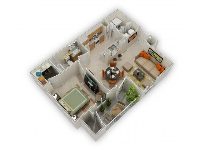 Carlyle 3D Floorplan at Main Street Village Apartments