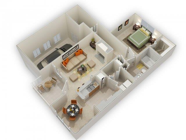 Chaucer Floorplan at Main Street Village Apartments