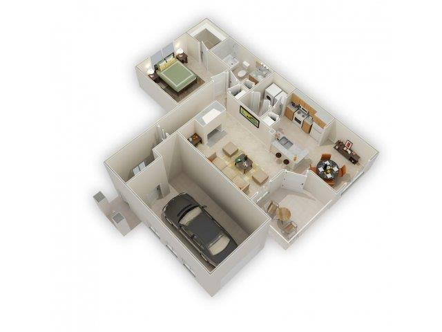 Chaucer 1 Bed 1 Bath Floor Plan at Main Street Village Apartments