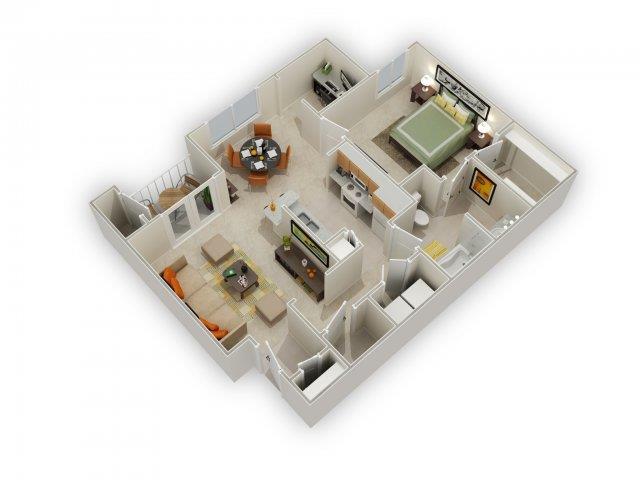 Larkin Floorplan at Main Street Village Apartments
