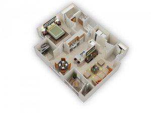 Larkin 1 Bed 1 Bath Floor Plan at Main Street Village Apartments