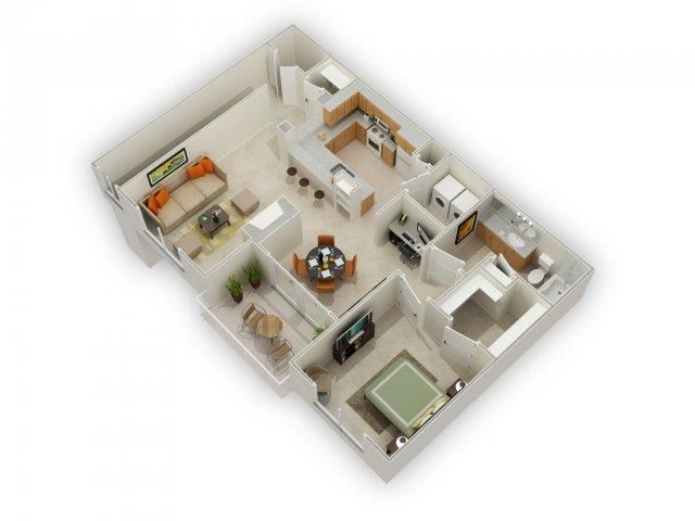 Lockridge One Bed One bath Floor Plan at Main Street Village Apartments