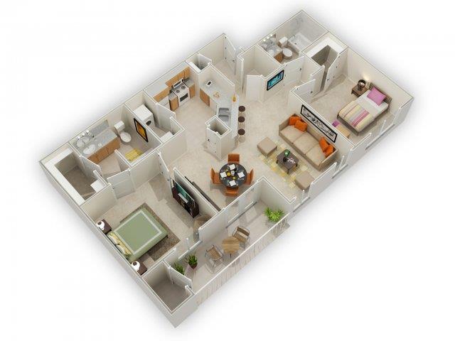 Ocatilla Floorplan at Main Street Village Apartments