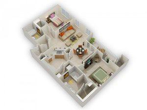 Ocatilla Two Bed Two Bath Floor Plan at Main Street Village Apartments