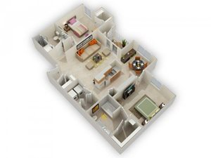 Pomona Two Bed Two Bath Floor Plan at Main Street Village Apartments