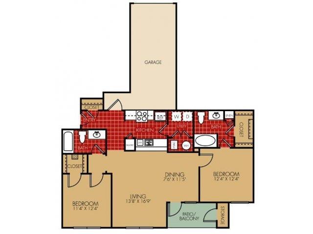 Rockford Floorplan at Main Street Village Apartments