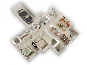 Taliesin Two Bed Two Bath Floor Plan at Main Street Village Apartments