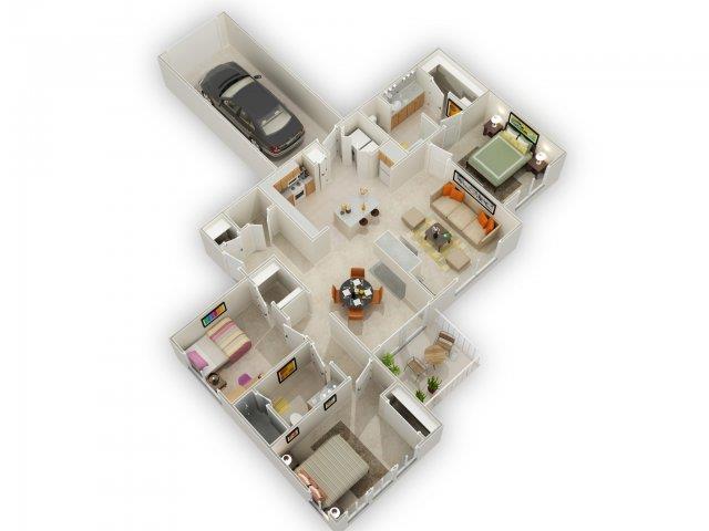 Usonian Floorplan at Main Street Village Apartments